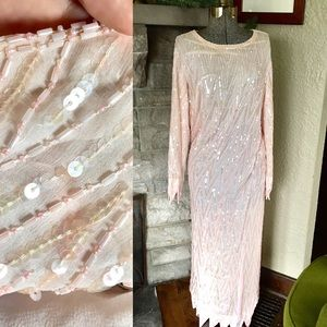 100% Silk Vintage Gown Sheer Dress Beaded Gown